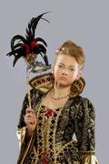 pretty girl posing in carnival princess costume - stock photo