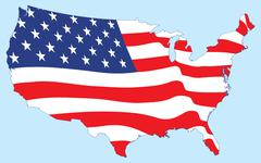 United States map with flag - stock illustration