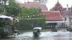 Boats Passing at Amphawa p14 Stock Footage