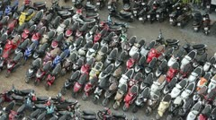 Motorbikes Parked in Vietnam Stock Footage