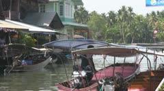 Small Passenger Boat Docking at Amphawa p10 Stock Footage