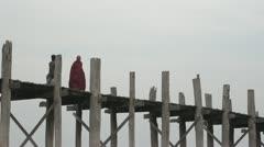 Traditional Bridge in Burma Stock Footage