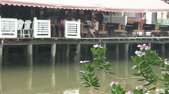 Flowers with River and Restaurant in Background at Amphawa Stock Footage