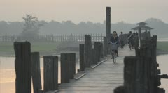 Traditional Bridge in Burma - stock footage