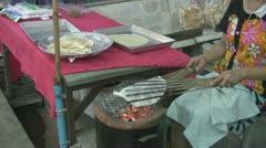 Woman Cooking Poppadoms at Amphawa p15 Stock Footage