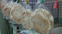 Freshly Cooked Poppadoms For Sale at Amphawa p25 Stock Footage
