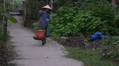 Vietnamese Woman Walking with Traditional Yoke Stock Footage