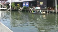 Woman Paddling Boat at Amphawa p32 Stock Footage