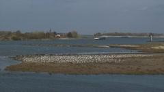 Bend of  river Waal near Nijmegen, Holland Stock Footage