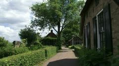 Rural village pan Weerribben-Wieden National Park, Holland Stock Footage