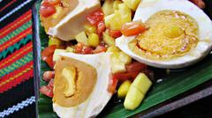 Red Salted Egg Salad Asian Delicacy Stock Photos