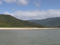 Pan Awaroa bay + tilt down shallow water full screen Stock Footage