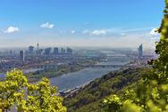 Skyline of Vienna and Danube Stock Photos
