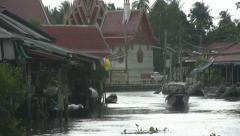 Boat Approaching Then It Starts to Rain at Amphawa Stock Footage