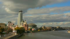 City Of Moscow timelapse in motion. Sky and clouds over Music house skyscraper. Stock Footage