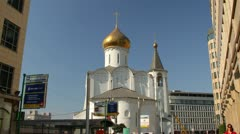 City Of Moscow time-lapse. Small Church on the square in the center of Moscow Stock Footage