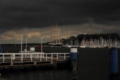port travemuende before the rain - stock photo