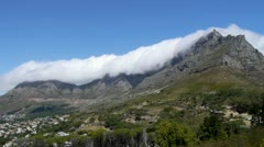 Low angle of clouds over table mountain Stock Footage