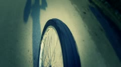 Going by Bike, Wheel View Stock Footage