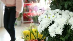 Chrysanthemums In Flower Shop Stock Footage