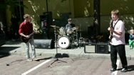 Stock Video Footage of students play guitar drums in street. hard rock