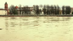 Flood of Arno River in Pisa Stock Footage