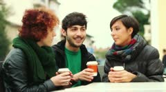 Group of Friends with Hot Drink on Winter Stock Footage