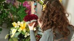 Florist Arranging Rose Heart Bouquet In Flower Shop Stock Footage