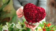 Florist Arranging Valentines Day Rose Heart Bouquet Closeup Stock Footage