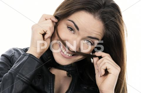 Stock photo of smiling woman with long hair