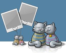cat photo holder - stock illustration