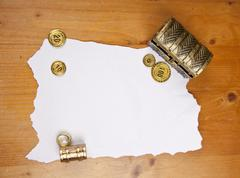 Pirate blank map with treasure, coins and ring Stock Photos