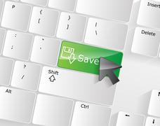 computer keyboard - green key save, close-up - stock illustration