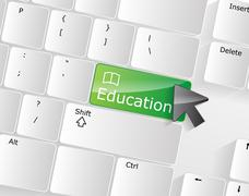 Computer keyboard - green key education, close-up Stock Illustration