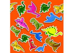 Funny dino seamless pattern with red background Stock Photos