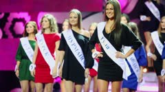 Presentation of contestants during Russian beauty 2011 contest Stock Footage