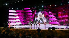 Participants of Russian beauty - 2011 contest on stage Stock Footage