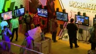 Several boys play video games during exhibition at Crocus Expo Stock Footage