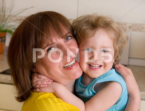 Stock photo of beautiful and happiness grandmother with granddaughter