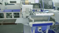 Many machines of printing conveyer for publishing industry Stock Footage