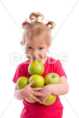 Stock photo of beautiful girl with apples