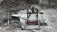 Wheelbarrow in snowstorm Stock Footage