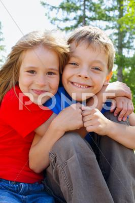 Stock photo of brother and sister