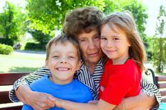 grandmother with grandchild - stock photo