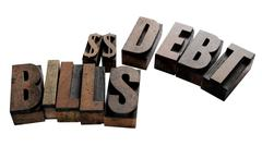 Debt and bills Stock Photos