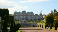 Belvedere palace in Vienna, Austria on a sunny day Stock Footage