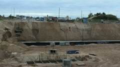 New highway road construction site works cars go roundabout way Stock Footage