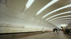 Arrival of train to metro station Perovo in Moscow Stock Footage