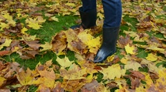 Woman rubber boots play colorful autumn maple tree leaves meadow Stock Footage