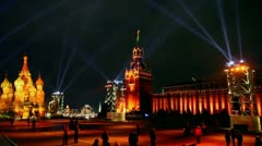 Stock Video Footage of Projectors rays in sky above Red Square and St. Basils cathedral